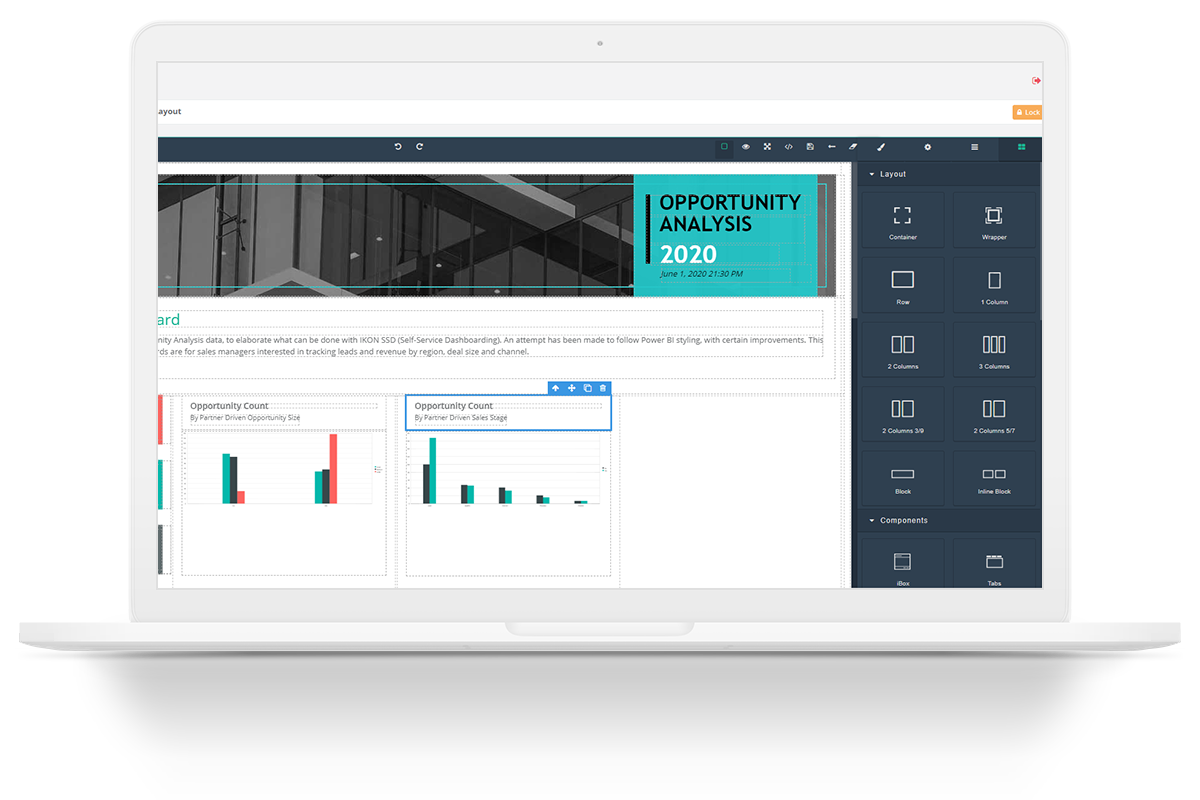 Ikon Low Code Platform allows end-users to customize their own dashboards